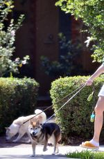 Sara Sampaio Goes makeup free as she is seen walking her dogs Kyta and South in Los Angeles