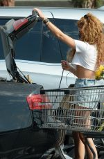 Sarah Hyland Is pictured as she shops for flowers and groceries in Los Angeles