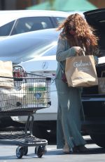 Sarah Hyland Shows off her long curly locks while shopping for groceries in a classy green dress in Los Angeles
