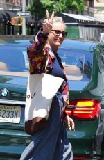 Sharon Stone Looks radiant and youthful while wearing oversized-baggy pants in Manhattan's Madison Avenue