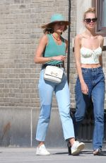Taylor Hill & Daphne Groeneveld Are walking in The West Village after to have lunch at Cafe Cluny french restaurant in New York