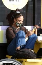 Tessa Thompson Was seen enjoying a vegan meal with her mom at The Vegan Joint restaurant in Culver City