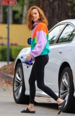 Zoey Deutch Is all smiles in a colorful outfit leaving Pilates in Los Angeles