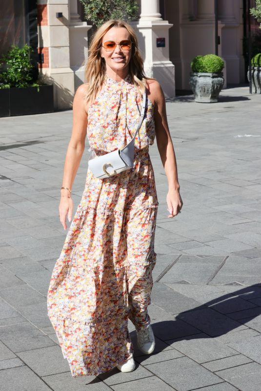 Amanda Holden Heading off on holiday stepping out in a Vogue Williams dress at Heart radio in London
