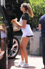 April Love Geary Arrives for a Tennis Class in Malibu