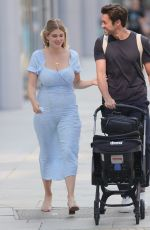 Ashley James Heads out of ITN studios in a summer dress in London