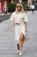 Ashley Roberts Looks chic in a bleached denim skirt and matching jacket at Heart radio in London
