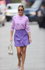 Ashley Roberts Makes a leggy appearance in purple mini skirt and polka dot top at Heart radio in London