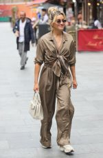 Ashley Roberts Seen in an olive two piece Trouser and knotted crop top at Heart radio in London