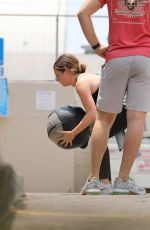 Ashley Tisdale Getting a workout in with a medicine ball at Rise Nation gym in West Hollywood