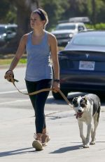 Ava Phillippe Walks her dog Benji on a hot summer day in Brentwood
