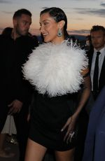 Bella Hadid Seen leaving Hotel Martinez to attend Chanel party during Cannes Film Festival 2021