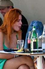 Bella Thorne And her fiancé Benjamin Mascolo are seen during a dinner, on the terrace of the Su and Shi Restaurant during the 74th Cannes Film Festival