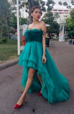 Blanca Blanco Dons a green gown during a photoshoot in Cannes