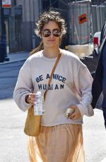 """Camila Cabello Wears a """"Be A Nice Human"""" sweatshirt and peach skirt while out in New York City"""
