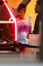 Cardi B Sports a tie-dye t-shirt as she is seen leaving BOA Steakhouse after dinner in Los Angeles