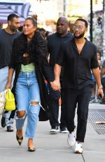 Chrissy Teigen And John Legend are seen leaving their New York Apartment