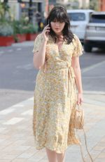 Daisy Lowe In plunging floral dress stepping out to Lunch at Roka restaurant in Mayfair