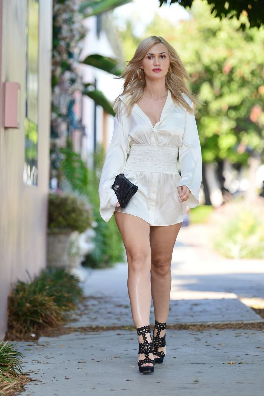 Ella Rose Heads to dinner wearing a silk Chanel dress in West Hollywood