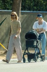 Elsa Hosk Makes an afternoon coffee run with her family near her Pasadena home