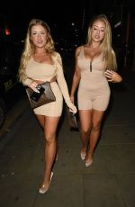 Eve & Jess Gale Seen arriving at Demi Jones Birthday Party Night out at Impossible in Manchester