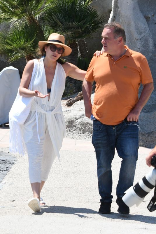 Gina Gershon & Clara McGregor Spotted taking in the sights in Ischia outside Hotel regina Isabella during The Ischia Global Festival