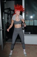 Hannah Stocking Left her sweaty training session and showed off her red punk rock Mohawk in North Hollywood