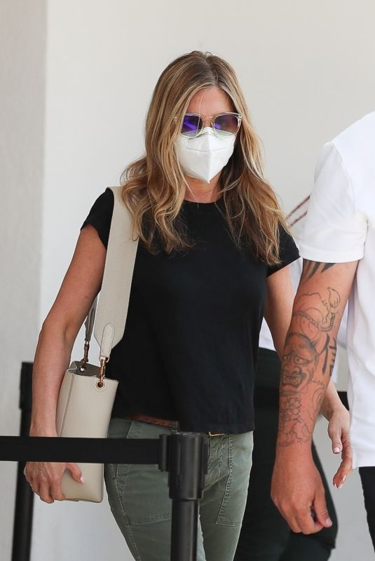 Jennifer Aniston Pictured exiting a skincare clinic in Beverly Hills