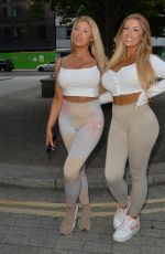 Jess & Eve Gale Seen leaving a photoshoot for i saw it first at HLD management studios, Covent Garden, London