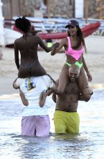 Joan Smalls Having fun in the sun with friends out on the beaches of Mykonos