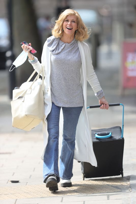 Kate Garraway Looks casually chic in denim jeans and grey hoodie at Smooth radio in London