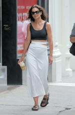 Katie Holmes Stuns in a black tank top, pencil skirt and Birkenstocks in New York
