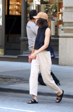 Katie Holmes Taking a car service in Soho, New York