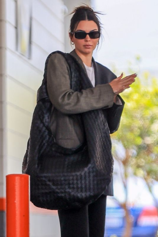 Kendall Jenner Looks business chic making a pit stop at the gas station before heading for a solo lunch in Beverly Hills