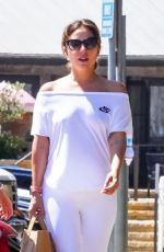 Lady Gaga Goes braless under a casual all white look in Malibu