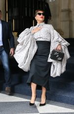 Lady Gaga Plays to the crowd as she leaves The Plaza Hotel in New York