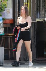 Lauren Parsekian Stepping out to meet a friend to have breakfast this morning in Los Feliz