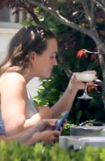 Leighton Meester Enjoys a drink over lunch with a friend at a Japanese restaurant in Brentwood
