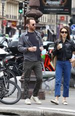 Lily Collins Out in Paris