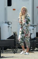 """Lily James Gets into character on the set of """"Pam & Tommy"""" in Hollywood"""
