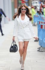 Lizzie Cundy Flashes a smile despite England's Euros 2020 Loss exits Jeremy Vine TV show looking chic in white blazer shorts and high heels in London