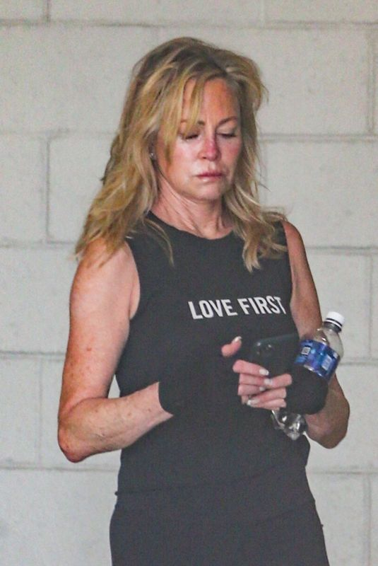 Melanie Griffith Exits gym session in a sleeveless top and with a serious sweat in Los Angeles