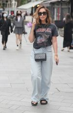 Myleene Klass Embraces her inner rock chic in heavy metal t shirt and denim T at Classic FM in London