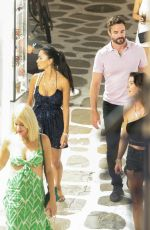 """Nicole Scherzinger and Thom Evans on a night out in the old town """"Hora"""" of Mykonos Island, Greece"""