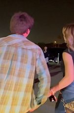 Peyton List Leaves Warner Bros. space jam party in the park after dark at Six Flags Magic Mountain in Valencia