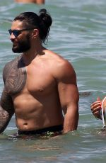 Roman Reigns and Galina Becker are seen at the beach in Miami, Florida