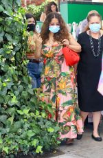 Salma Hayek Seen wearing a long floral summer dress and a mask while leaving the Ivy in Beverly Hills