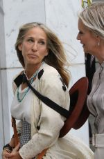 """Sarah Jessica Parker & Cynthia Nixon On the set of """"And Just Like That"""" the new Sex and The City Reboot series filming in Manhattan's Fifth Avenue"""