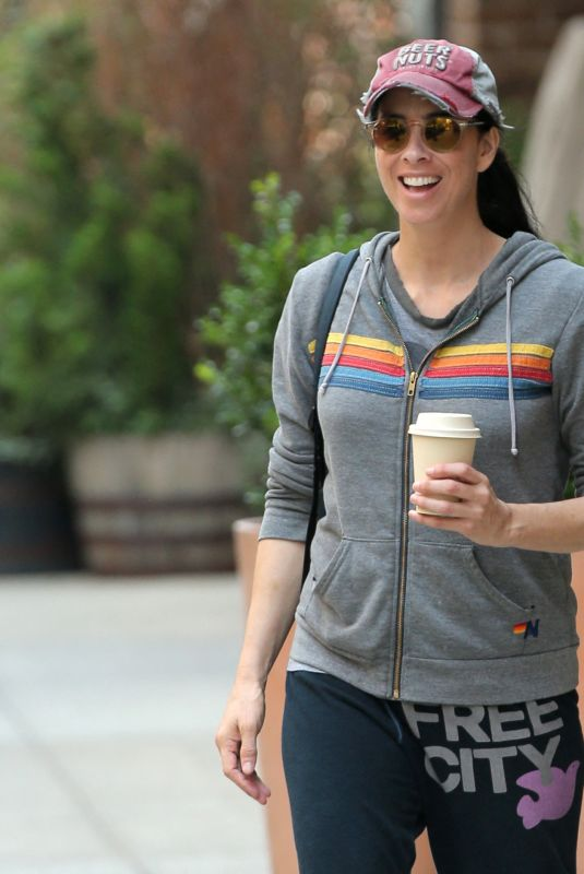 Sarah Silverman Steps for some fresh air in New York