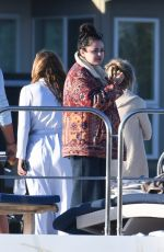 Selena Gomez Make a very rare appearance as she is seen aboard a boat with friends and Italian producer Andrea Lervolino in Los Angeles